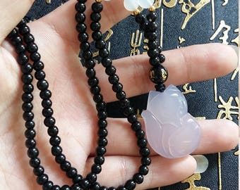 """Free Shipping - Natural pink agate fox, hand-carved """"seductive fox"""" lucky chalcedony pendant sweater chain"""