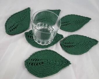 SousVerre01 - Set of 6 coasters green leaves