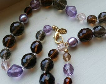 Vintage Joan Rivers Classic Jewelry 20 inch Purple, Olive and Brown Faceted Bead Necklace with Gold Tone Clasp