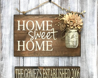 Personalized Home Sign - Home Sweet Home Sign - Rustic Home Sign - Hand Painted Home Sign - Rustic Home Decor - Outdoor Home Sweet Home Sign