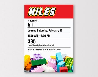 Lego Birthday Invitation, Lego Invite, Lego Party Invitation, Lego Birthday Printables, Lego Building Block Party, 5x7 inch Digital Download