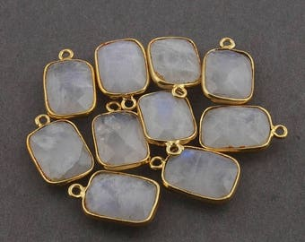 Valentine Day 10 Pcs White Rainbow Moonstone 24k Gold Plated Rectangle Shape Single Bail Pendant 18mmx11mm-19mmx11mm BC1083