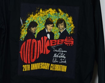 Upcycled Button Down With Monkees 20th Anniversary Concert Tee