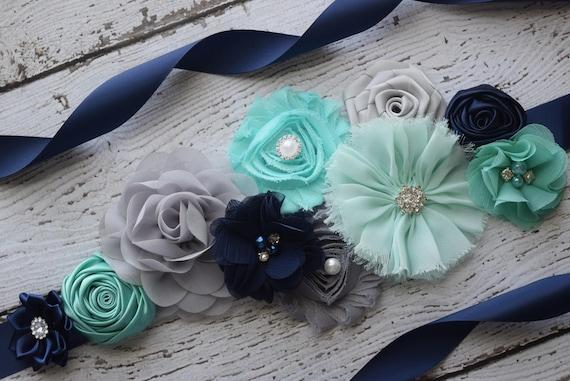 Maternity sash belt,Navy  aqua grey Sash , sash, flower Belt, maternity sash, baby shower gift