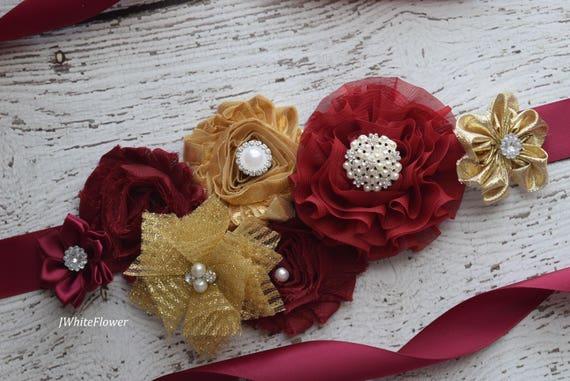 Sash, gold burgundy  Sash, flower Belt, maternity sash, wedding sash, baby shower sash
