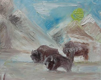 Bison in the snow, original art , pallette knife oil painting. Nature art.