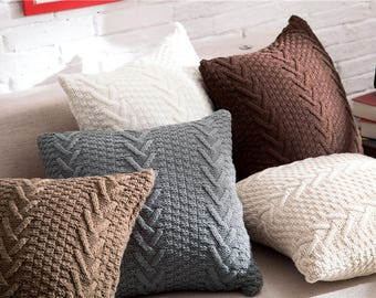 """Decorative pillow knitted  cushion cover/Grey/White/Beige/Chocolate/Taupe pillow case/throw pillow cushion shell 18x18"""""""