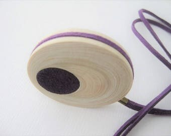 Minimalist necklace / Tangerine wood necklace / Geometric jewelry / Adjustable necklace / Minimalist jewelry / Wooden pendant