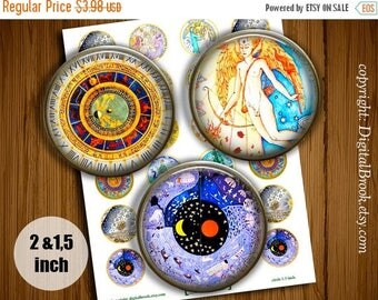 SALE 50% Renaissance Astrology Prints Digital Collage Sheet 2 inch 1.5 inch Printable circle images for Pocket Mirrors Magnets - 218