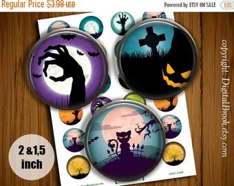 SALE 50% Digital Collage Sheet Halloween #2 2 inch 1.5 inch Printable circle images for Pocket Mirrors Magnets Labels Pendant - 022