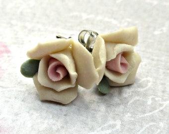 Tiny flower earrings, vintage ceramic rose earrings, rose stud earrings, floral earrings, flower earrings, rose post earrings