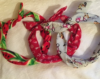 50s style hairband ~ Wired or unwired ~ Vintage retro hair accessory ~ Mopeds, anchors or watermelon ~ Handmade, 100% cotton x