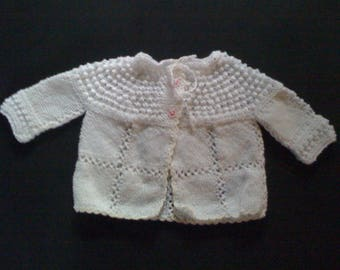 Small 6 month baby Cardigan hand knitted