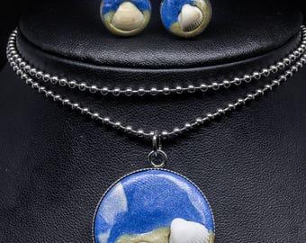 Stainless Steel Ocean-Inspired Shell & Pyrite Pendant Stud Earring Set
