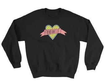 Stranger Things Friends Don't Lie Blue Waffle Heart Crew Neck Sweater Sweatshirt