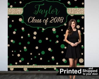 Graduation Photo Backdrop - Congrats Grad Personalized Photo Backdrop- Class of 2018 Photo Backdrop- Photo Booth Backdrop, Printed Backdrop