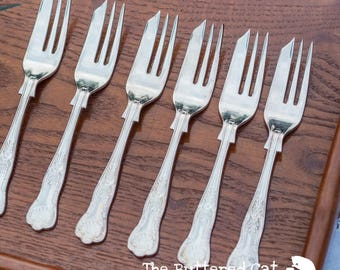 SIX vintage English silver-plated dessert forks