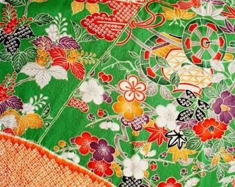 JPI - Vintage Japanese Kimono Silk Fabric **Green Green**