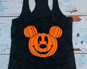 Mickey Mouse - Pumpkin - T-shirt or Tank Top - Men - Women - Mickey's not so scary - Halloween - Party - Disney Halloween - Haunted - Boo