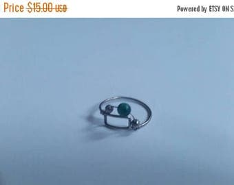 SALE Sterling Silver Ring Wire Green Glass Bead