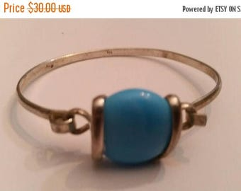 SALE Turquoise Blue Glass and Sterling Silver Bracelet 925 Jewelry