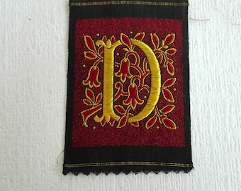 Antique Silk on Cotton Applique, Monogram D, Embroidered Letter D. Alphabet Patch, Monogram Patch, Antique Letter, Silk Thread, 1930's