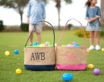 Personalized Easter Bucket - Navy or Pink - Burlap Easter Basket - Monogram Gift