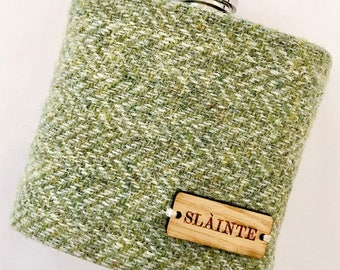 Pale Green Harris Tweed 'Slainte' Hip Flask