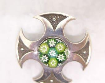Vintage Scottish Silver Caithness Brooch Millefiori Glass Paperweight - Hallmarked Edinburgh Silver