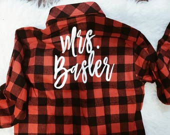 Mrs. Flannel |Bride Flannel | Bridesmaid Flannels | Maid of Honor Flannel