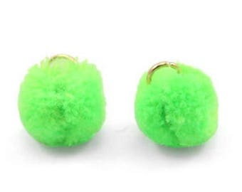 Pompom pendant, pom Poms, Pom Pons-5 PCs.-Ø 15 mm-Color selectable (colour: green)
