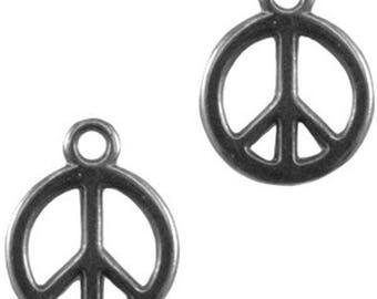 "DQ Metal Pendant ""Peace""-1 piece-15 x 12 mm-Zamak-color selectable (color: silver grey)"