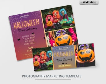 Halloween  Mini Session Template, Photography Marketing Board, FB, Facebook timeline, Halloween Minis,Photoshop Template, outdoor sessions