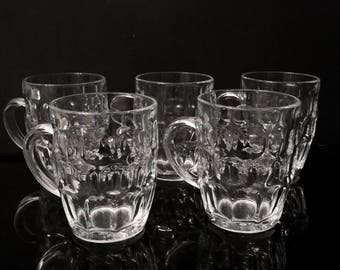 Vintage Heavy Clear Glass Thumbprint Beer Mugs,Set of 2,Britannia Arcoroc France Mugs,Clear Glass Drinking Mugs,
