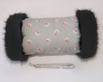 Cath Kidston Stone Floral Spot Hand Muff with Luxury Black Faux Fur Trim