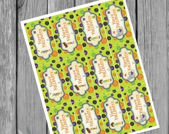 halloween zombie favor tags  instant download u print as many as u need 2 x 3.5 inches