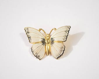 Vintage Gold Plated White Black Enamel Butterfly Brooch Pin