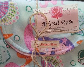 Baby Receiving Blanket and Burp Cloth - Little Mermaids Print