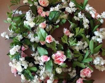 Roses Garlands, Ivory Pink Roses Garland for Wedding , Floral Wall Arrangement