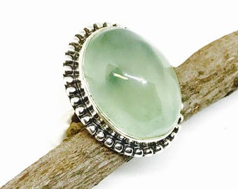 Prehnite ring set in Sterling silver 925. Size -6. Genuine natural green prehnite stone. Satisfaction guaranteed