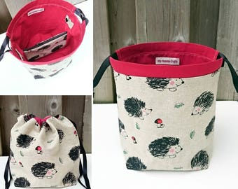 Hedgehog Print Linen Knitting Bag, Sock Knitting Bag, Knitting Tote, Sock Project Bag for two at a time sock knitting - Small Socksack