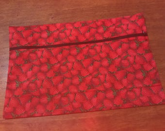 STRAWBERRIES Zippered Pouch (Unlined)