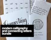 Modern Calligraphy Alphabet AND Connecting Letters Bundle
