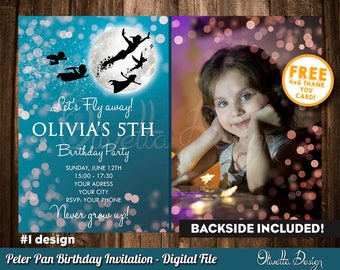Peter Pan Invitation, Peter Pan Birthday Invitation, Peter Pan Party, Neverland Invitation, Peter Pan, with your Photo, Printables 001