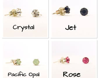 Swarovski stud earrings - 4mm stones - everyday earrings- dainty earrings - sterling silver - choice of colours