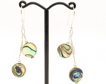 Abalone shell and sterling silver earrings