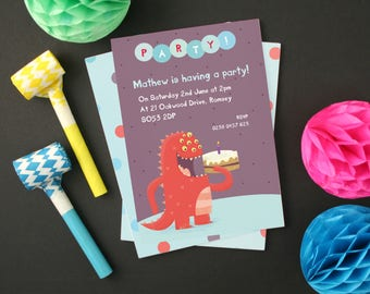 Personalised Cake Monster Party Invitations (Choose the number of candles) -- Minimum order 8