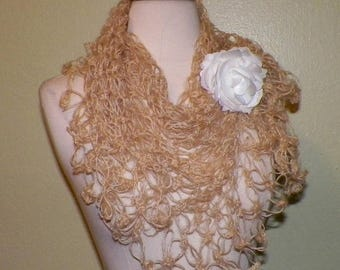 On Sale- Triangle Scarf Shawl  Light Brown Tan Beige Bridal  Lace Crochet Mohair Bridal Wedding Wrap Scarf Lacy Summer With Brooch