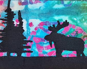 Marshy Moose Quilted Postcard / Art Quilt / Custom Art / Landscape Art / Wildlife Art / Fabric Postcards / Handmade Postcards / Fiber Art