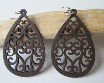 Wooden Earrings * Hippie style * Wooden earrings * long * decorated * BROWN * ethno * statement